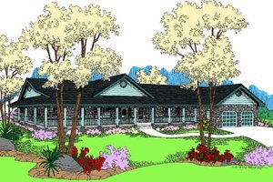 Country Exterior - Front Elevation Plan #60-653