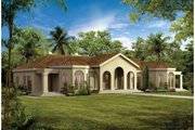 Mediterranean Style House Plan - 4 Beds 3 Baths 2831 Sq/Ft Plan #72-161 Exterior - Front Elevation