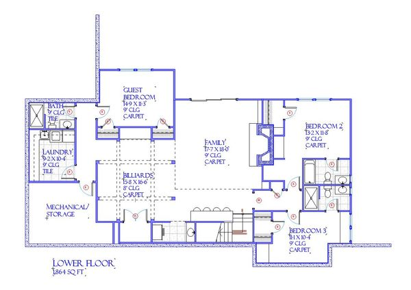 Farmhouse Floor Plan - Lower Floor Plan Plan #901-145
