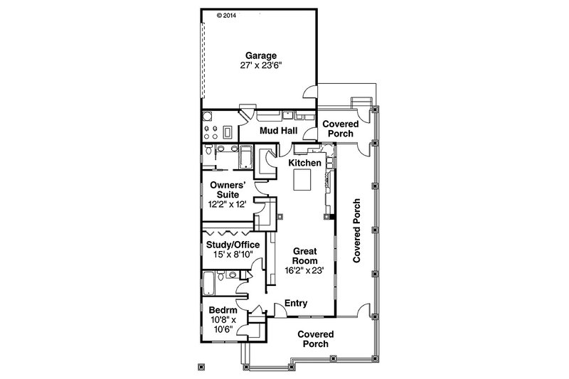 Cottage Floor Plan - Main Floor Plan Plan #124-950