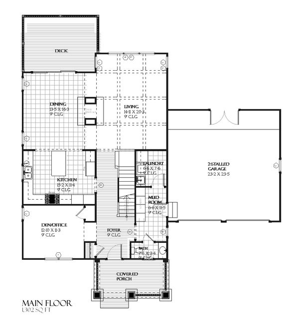 Craftsman Floor Plan - Main Floor Plan #901-55