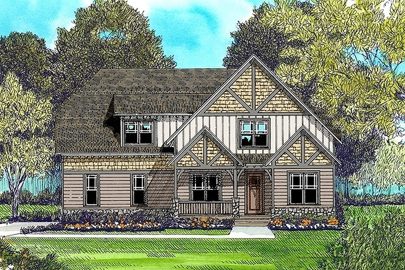 Craftsman Style House Plan - 4 Beds 3 Baths 2877 Sq/Ft Plan #413-841 Exterior - Front Elevation