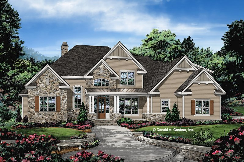Craftsman Style House Plan - 4 Beds 3.5 Baths 2574 Sq/Ft Plan #929-1080 Exterior - Front Elevation