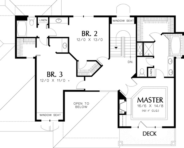 Mediterranean Floor Plan - Upper Floor Plan Plan #48-232
