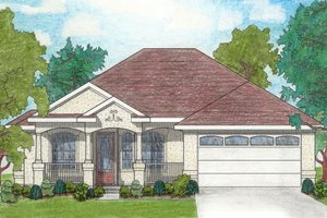 Dream House Plan - Mediterranean Exterior - Front Elevation Plan #80-104