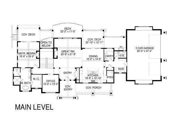 Craftsman Style House Plan - 3 Beds 3.5 Baths 4759 Sq/Ft Plan #920-70 Floor Plan - Main Floor Plan