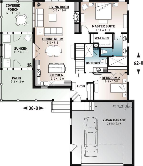 Architectural House Design - Cottage Floor Plan - Main Floor Plan #23-2680