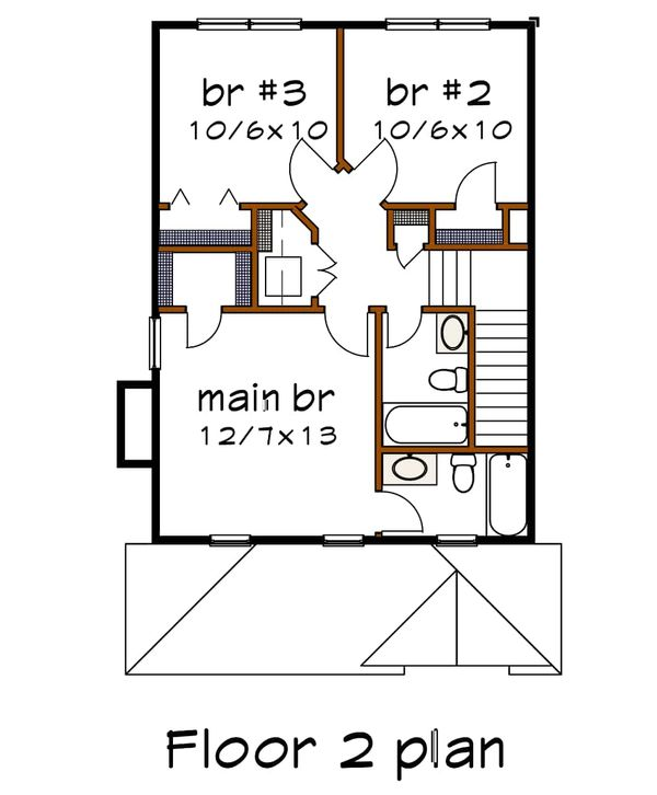 Southern Floor Plan - Upper Floor Plan Plan #79-172