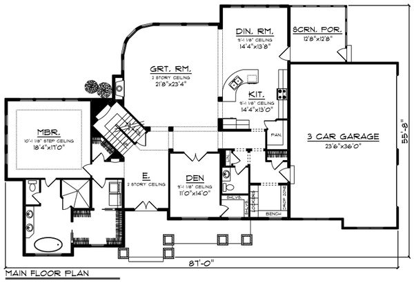 Craftsman Floor Plan - Main Floor Plan Plan #70-1254