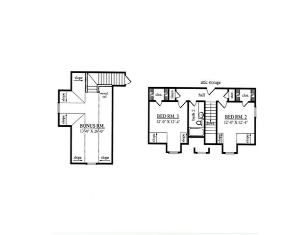 Country Floor Plan - Upper Floor Plan Plan #42-369