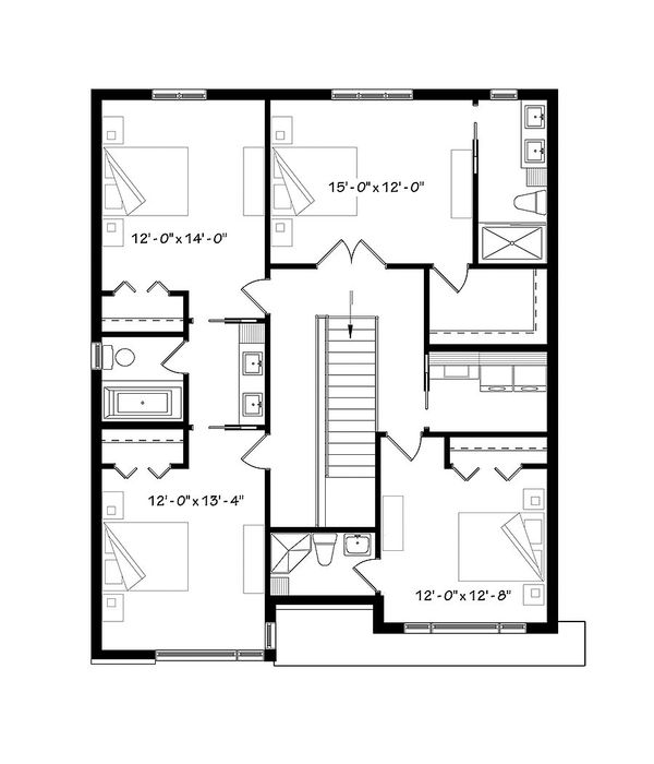 Contemporary Floor Plan - Upper Floor Plan #23-2647
