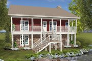 Country Style House Plan - 3 Beds 3 Baths 2843 Sq/Ft Plan #56-725 Exterior - Rear Elevation