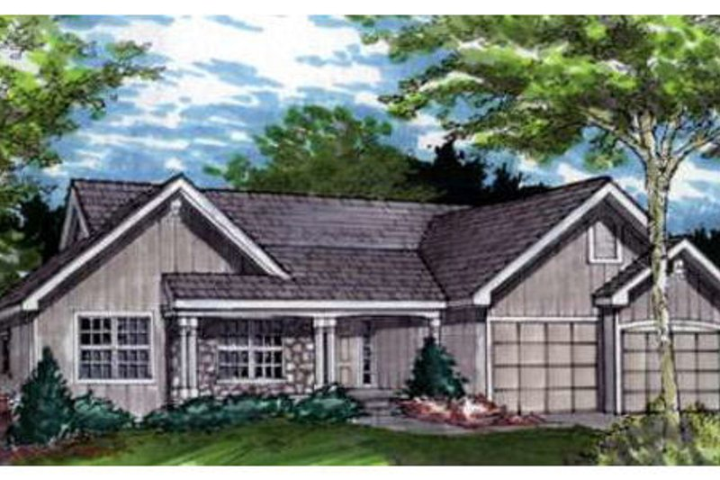 Traditional Style House Plan - 2 Beds 2.5 Baths 1894 Sq/Ft Plan #320-372 Exterior - Front Elevation