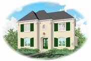 Southern Style House Plan - 4 Beds 3.5 Baths 3487 Sq/Ft Plan #81-332 Exterior - Front Elevation
