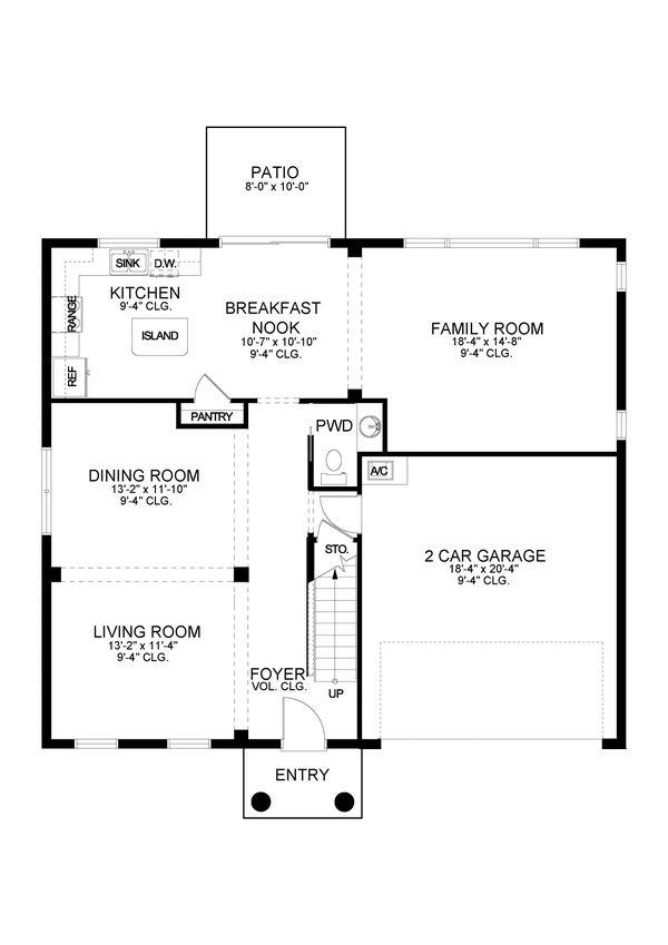House Blueprint - Traditional Floor Plan - Main Floor Plan #1058-200