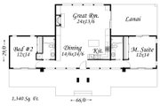 Modern Style House Plan - 2 Beds 2 Baths 1340 Sq/Ft Plan #509-5 Floor Plan - Main Floor Plan