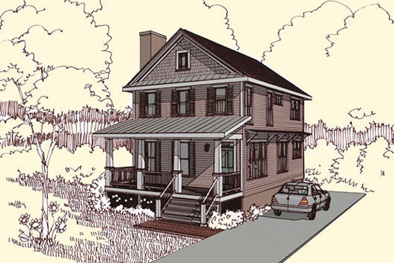 Traditional Style House Plan - 3 Beds 2.5 Baths 1435 Sq/Ft Plan #79-272 Exterior - Front Elevation