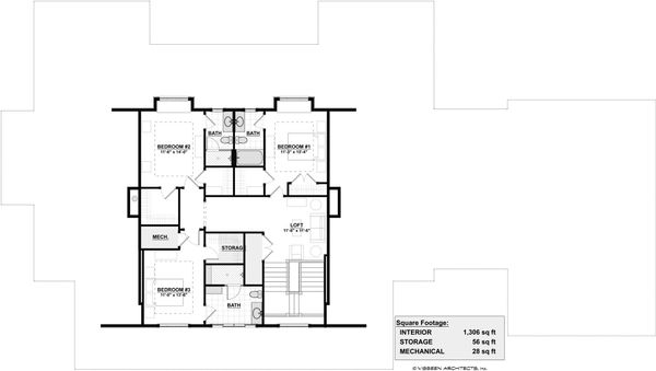 Farmhouse Floor Plan - Upper Floor Plan Plan #928-313