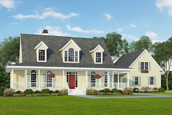 Colonial Exterior - Front Elevation Plan #929-50