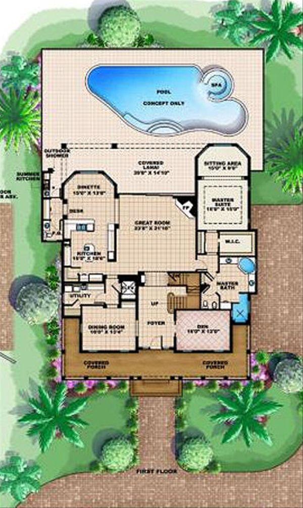 Beach Floor Plan - Main Floor Plan #27-413