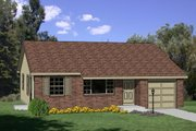 Ranch Style House Plan - 3 Beds 1 Baths 1008 Sq/Ft Plan #116-153 Exterior - Front Elevation