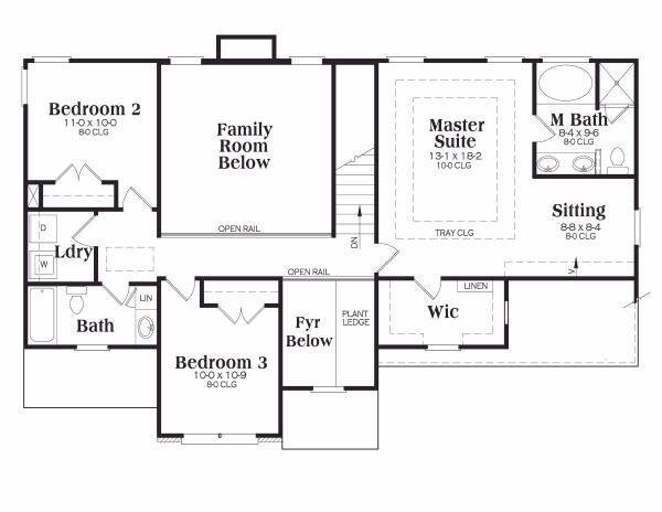 Traditional Floor Plan - Upper Floor Plan Plan #419-125