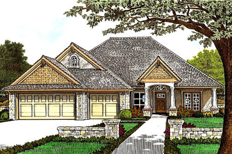 European Style House Plan - 3 Beds 2.5 Baths 1921 Sq/Ft Plan #310-989 Exterior - Front Elevation