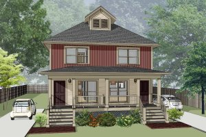 Southern Exterior - Front Elevation Plan #79-276