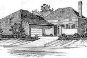 European Exterior - Front Elevation Plan #301-103