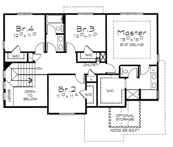 House Plan Design - Traditional Floor Plan - Upper Floor Plan #20-2076