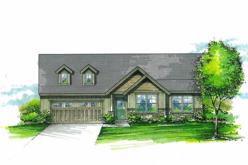 Craftsman Exterior - Front Elevation Plan #53-595