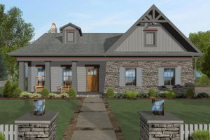 Craftsman Exterior - Front Elevation Plan #56-704