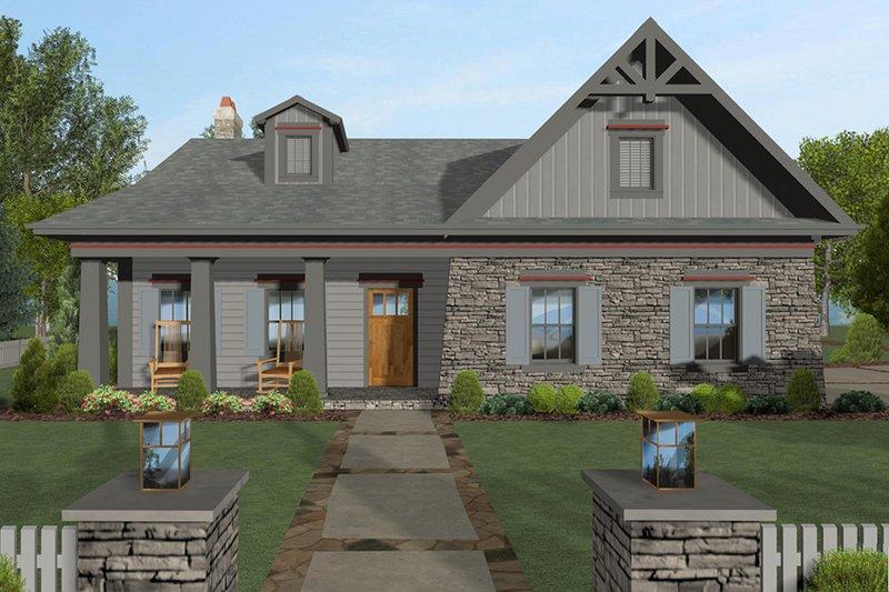 Architectural House Design - Craftsman Exterior - Front Elevation Plan #56-704