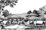 Mediterranean Style House Plan - 4 Beds 3 Baths 3084 Sq/Ft Plan #417-343 Exterior - Other Elevation