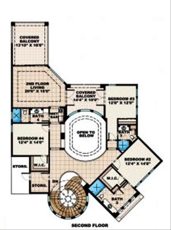 Mediterranean Floor Plan - Upper Floor Plan Plan #27-390