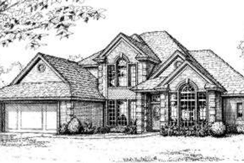 European Style House Plan - 4 Beds 3.5 Baths 3036 Sq/Ft Plan #310-123 Exterior - Front Elevation
