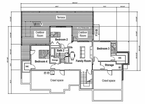Contemporary Style House Plan - 4 Beds 3 Baths 3103 Sq/Ft Plan #451-15 Floor Plan - Lower Floor Plan