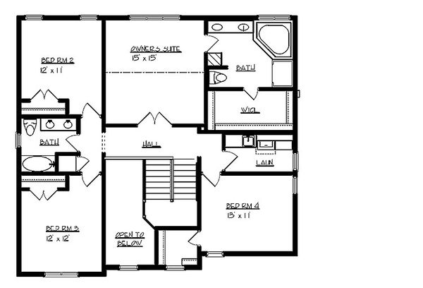 Traditional Floor Plan - Upper Floor Plan Plan #320-498