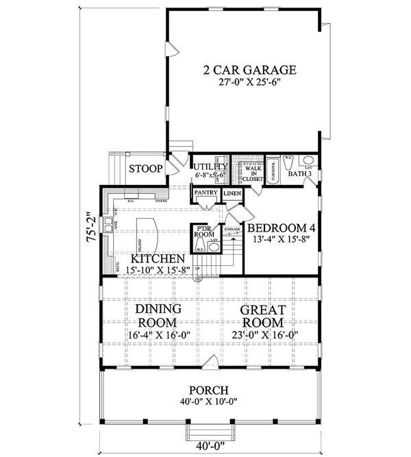 Colonial Floor Plan - Main Floor Plan Plan #137-291