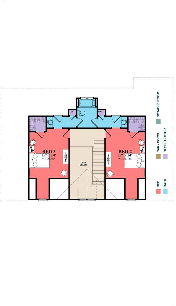 Southern Floor Plan - Upper Floor Plan Plan #63-391