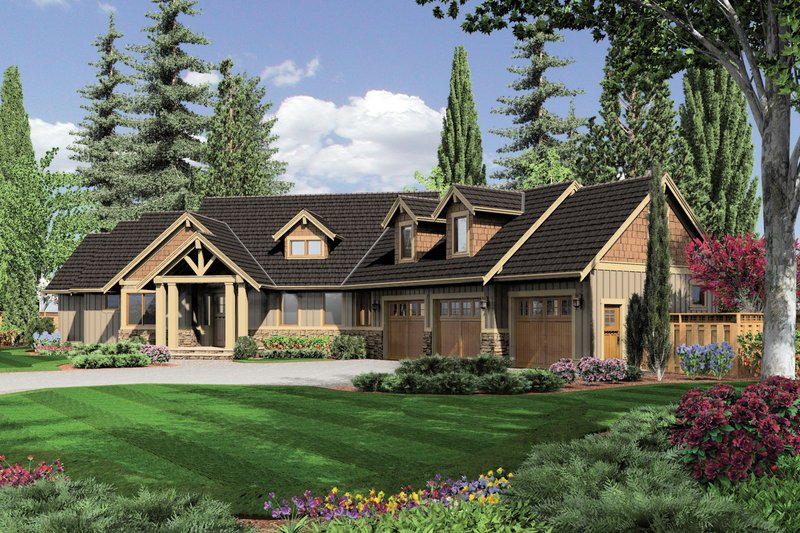 Dream House Plan - Craftsman Exterior - Front Elevation Plan #48-517