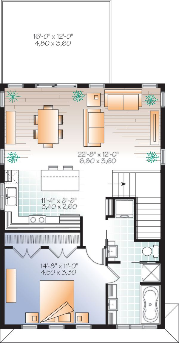 Modern Floor Plan - Upper Floor Plan Plan #23-2710