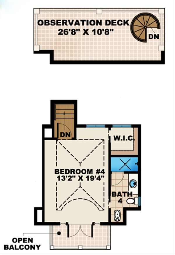 Mediterranean Floor Plan - Upper Floor Plan Plan #27-451