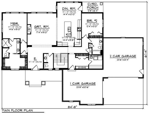 Ranch Floor Plan - Main Floor Plan Plan #70-1462