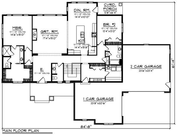 Architectural House Design - Ranch Floor Plan - Main Floor Plan #70-1462