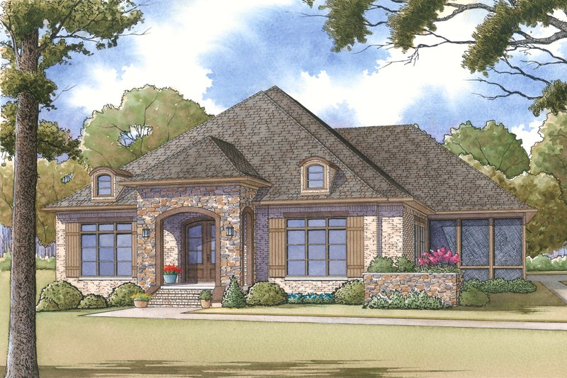Southern Style House Plan - 3 Beds 3 Baths 2995 Sq/Ft Plan #17-2593 Exterior - Front Elevation