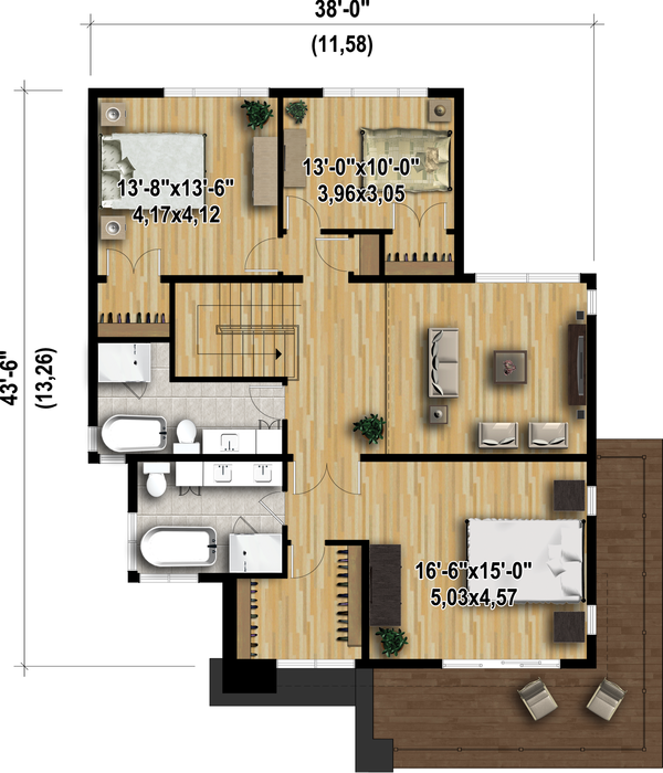 Modern Floor Plan - Upper Floor Plan Plan #25-4415
