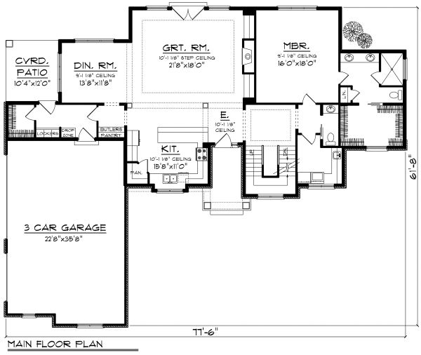 Traditional Floor Plan - Main Floor Plan Plan #70-1182