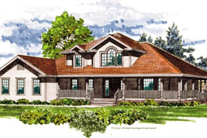 Traditional Style House Plan - 4 Beds 2.5 Baths 2603 Sq/Ft Plan #47-470 Exterior - Front Elevation