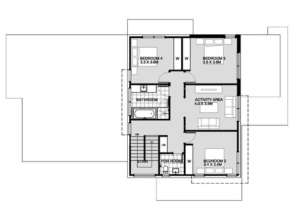 Modern Floor Plan - Upper Floor Plan Plan #496-25